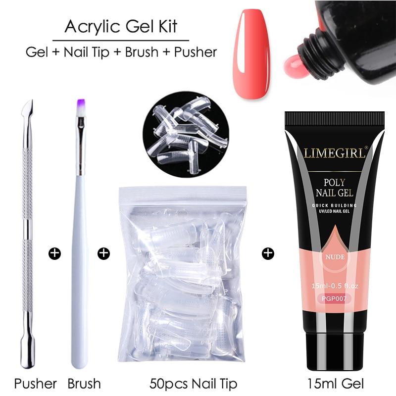 Limegirl Poly Extension Nail Gel Kit All For Manicure Set Fast Building Gel Cuticle Pusher Finger Ex