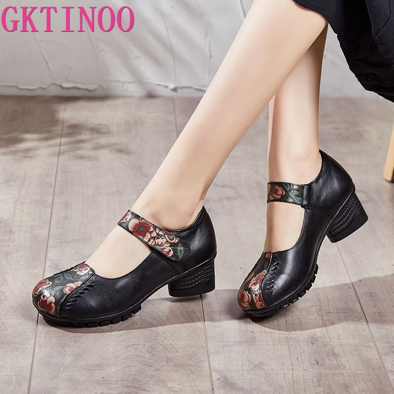 aikelinyu classics pump square heel women s pumps genuine leather purple sexy office lady shoes hollowing out women wedding shoe GKTINOO Women Pumps Genuine Leather High Heel Shoes Genuine Leather Thick Heels Handmade Shoe Vintage Style