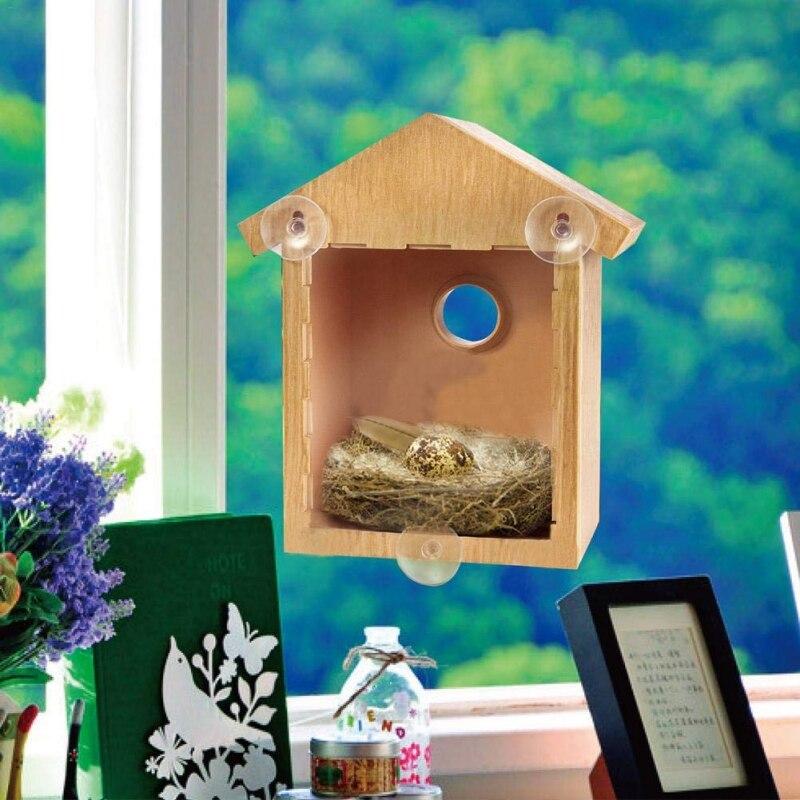 Nido de Pájaro para exterior, suministros de decoración del jardín, ventana, jaulas madera pájaro, nido caja casa