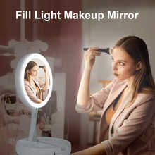 Round LED folding Make up mirror Fold Double-sided mirror 1x 10x magnification portable Beauty Make up mirror as a gift