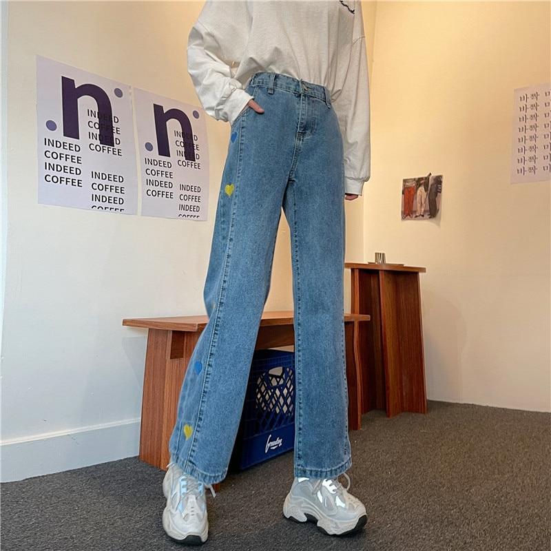 Love peach heart wide leg jeans women's straight tube loose high waist 2021 spring and summer new drape Capris