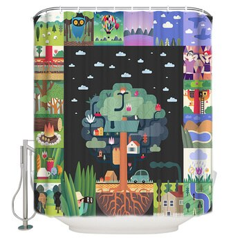 Lattice Scene Around Big Tree Shower Curtain Waterproof Curtains Polyester Bath Curtain