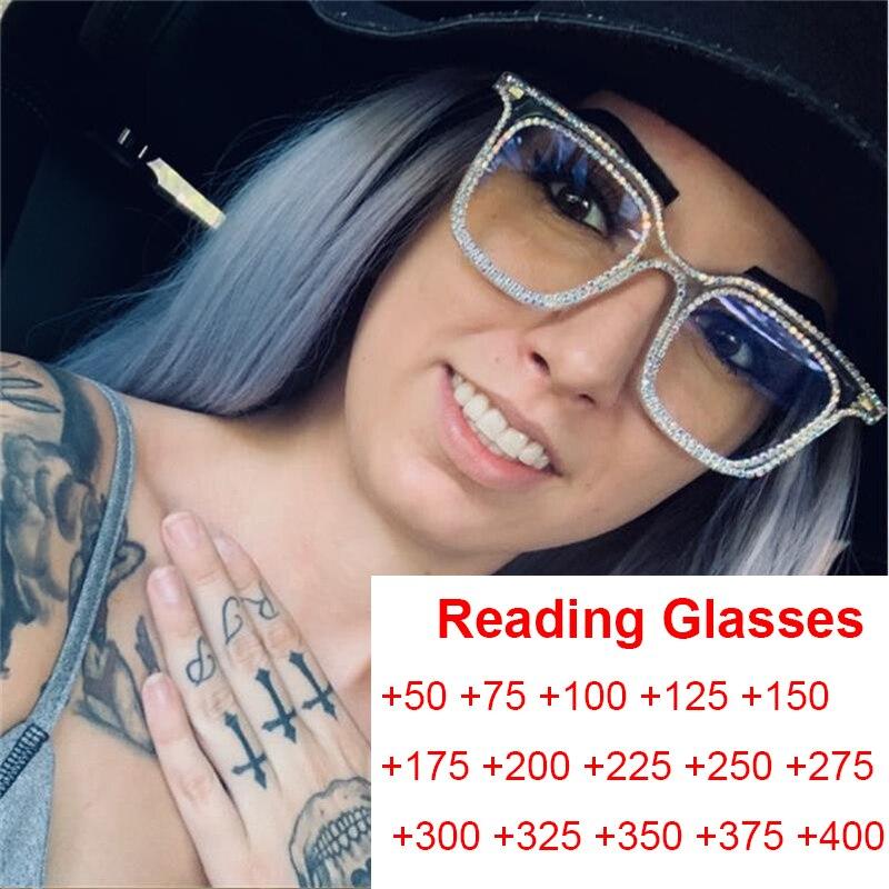 Óculos de leitura de cristal óculos quadrados quadros claros óculos anti luz azul óculos de computador para mulher bling diamante eyewear