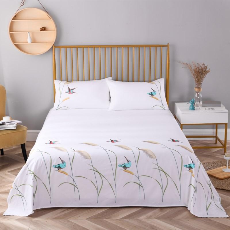 مطرزة القطن حك غطاء سرير ريد المخدة (1 ورقة مسطحة 2 سادات) للمنزل الأبيض