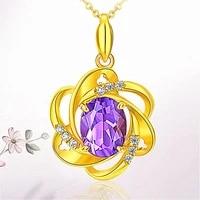 fashion flower purple crystal amethyst gemstones diamond pendant necklaces women 14k gold color choker jewelry bijoux party gift