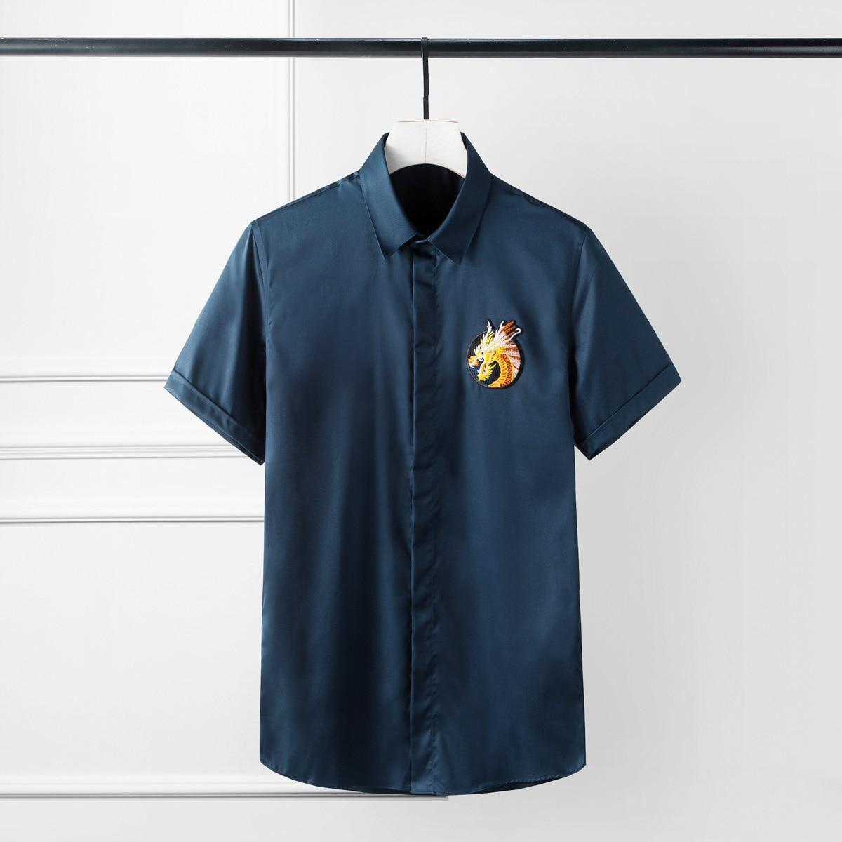 Minglu-قمصان صيفية للرجال ، مقاس كبير ، 4xl ، لون سادة ، مقاس نحيف ، قمصان فاخرة مع تطريز ، أكمام طويلة ، قميص رجالي