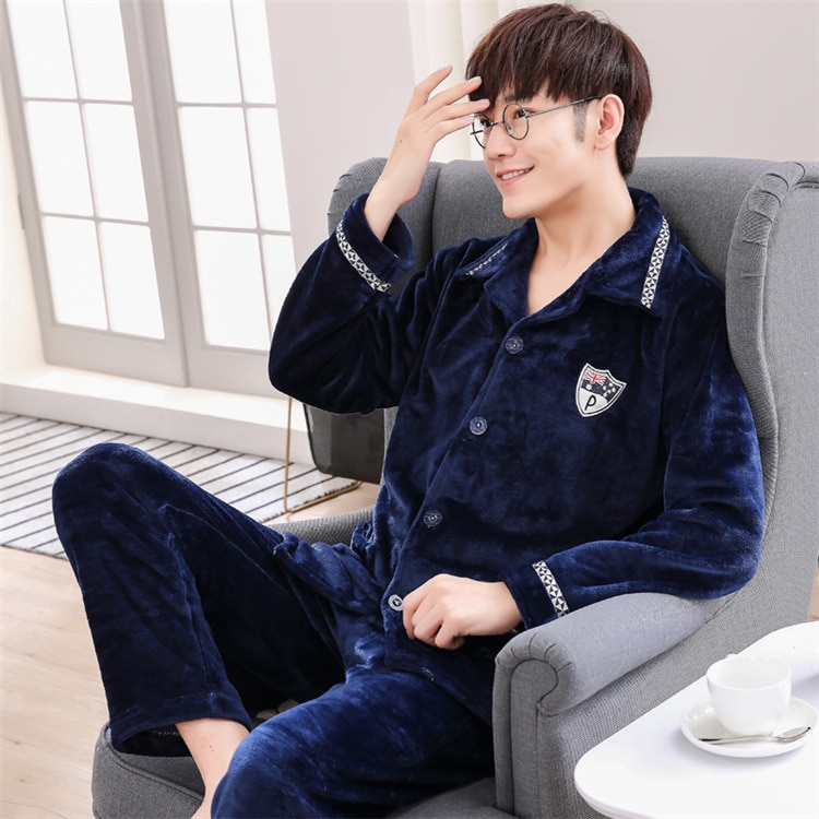 Qiu dong season long sleeve thickening coral fleece pajamas male man warm flannel leisure wear