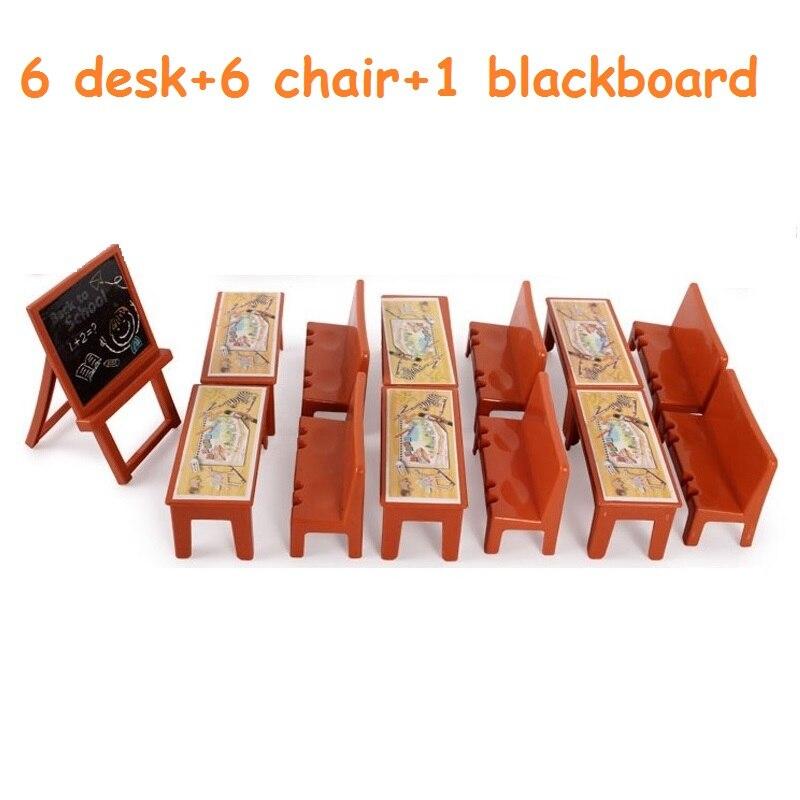 13pcs/set LOLs Doll Accessories School Classroom Pretend Play Toy Desk Blackboard Suitable 8cm Pig Animal Doll Girls Xmas Gifts