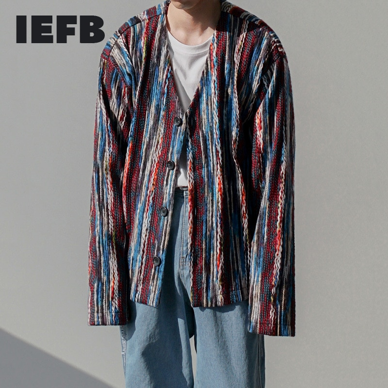 IEFB الرجال ارتداء سترة مشغولة من الصوف سترة سترة رجل الكورية موضة الربيع والخريف الخامس طوق واحدة الصدر طويلة الأكمام القمم