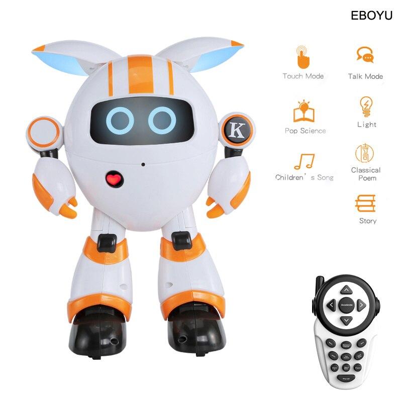 Robot de Control remoto inteligente JJRC R14, redondo, para escuchar música, contar historias, luz LED, juguete educativo RC para niños
