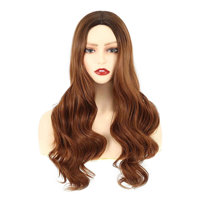 VCKOVCKO-شعر مستعار صناعي طويل مموج للنساء والفتيات ، مصنوع من ألياف مقاومة للحرارة ، مع هامش هوائي