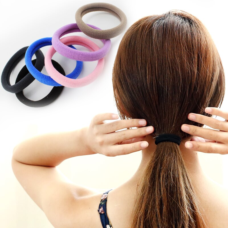 Free Shipping Seamless Rubber Band Headwear Hair Ring Hair Rope Hair Rope Korean Hair Tie Black Leat