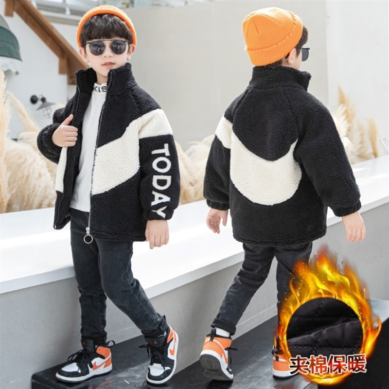 Children's clothing boys' fleece-lined jacket furry sweater thickened quilted cotton cloth Korean style handsome winter tops enlarge