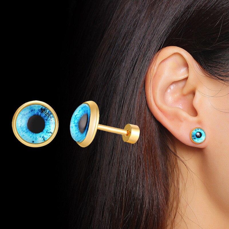 Zorcvens mal azul olho brincos proteção espiritual brincos redondos para mulheres aço inoxidável turco brincos jóias