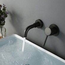 Modern 15 Cm Alba mat siyah küçük musluk lavabo musluğu banyo duvarına monte anahtarı su musluk sıcak soğuk yuvarlak toptan pirinç