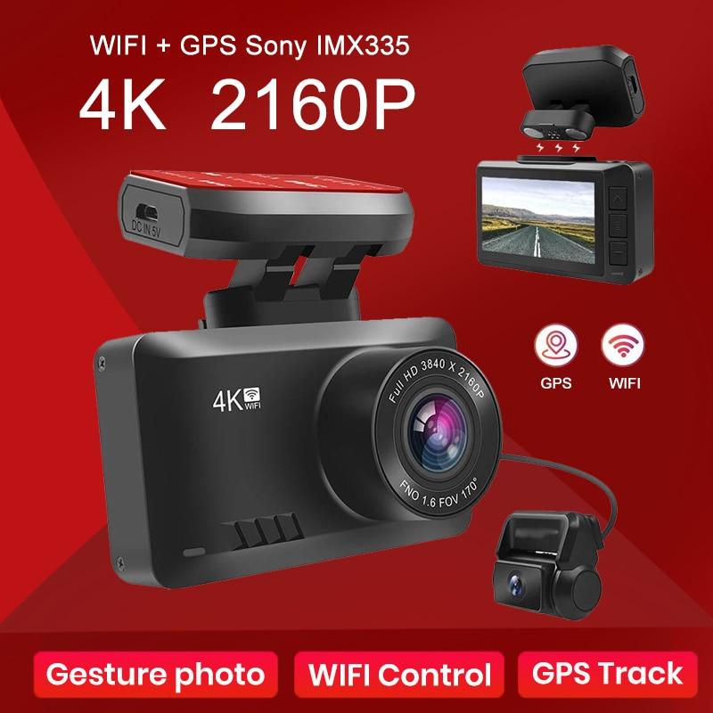 4K داش كاميرا السيارة مزودة بجهاز تسجيل فيديو مسجل فيديو الترا HD 2160P غس المسار واي فاي للرؤية الليلية داشكام دعم 1080P كاميرا خلفية