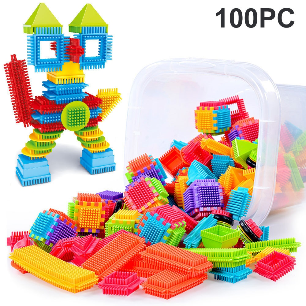 100 stücke Borsten Form 3D Bausteine Fliesen Bau Playboards Spielzeug Für Kinder Geschenke Frühe Pädagogische bausteine