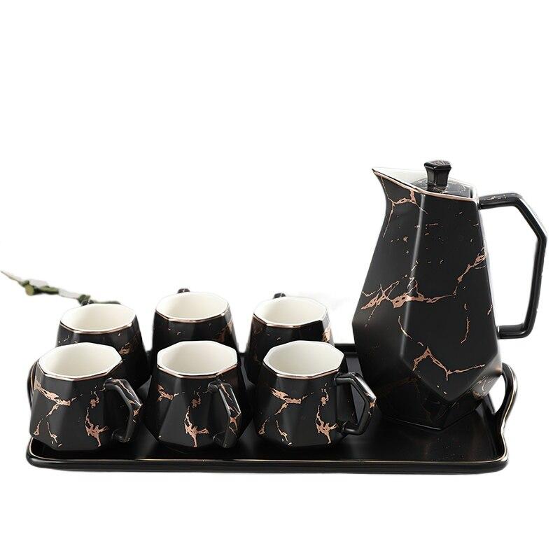 العظام شاي صيني مجموعة كأس الذهب حافة رمادي أسود الرخام نمط السيراميك القهوة مجموعة وعاء الصحن زخارف للحانات المنزلية المطبخ المورد