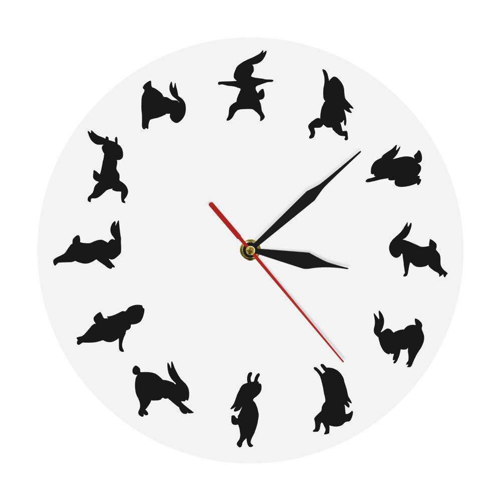 Йога кролик современные знаковые часы животные кролик настенные часы подарок для любителя йоги гибкие ДЕВУШКИ Силуэт Фитнес Спорт Часы