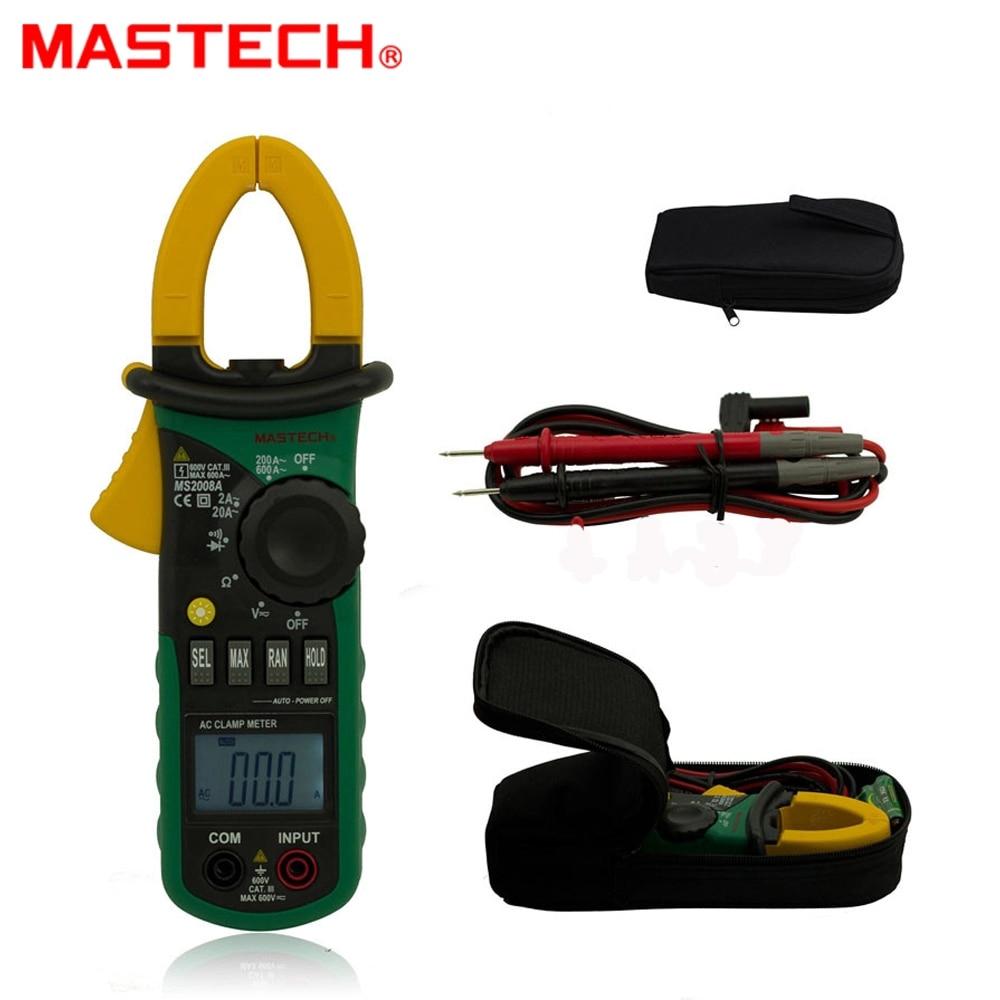 MASTECH MS2008A pince numérique ampèremètre voltmètre ohmmètre w/ LCD rétro-éclairage 600A testeur de tension de courant