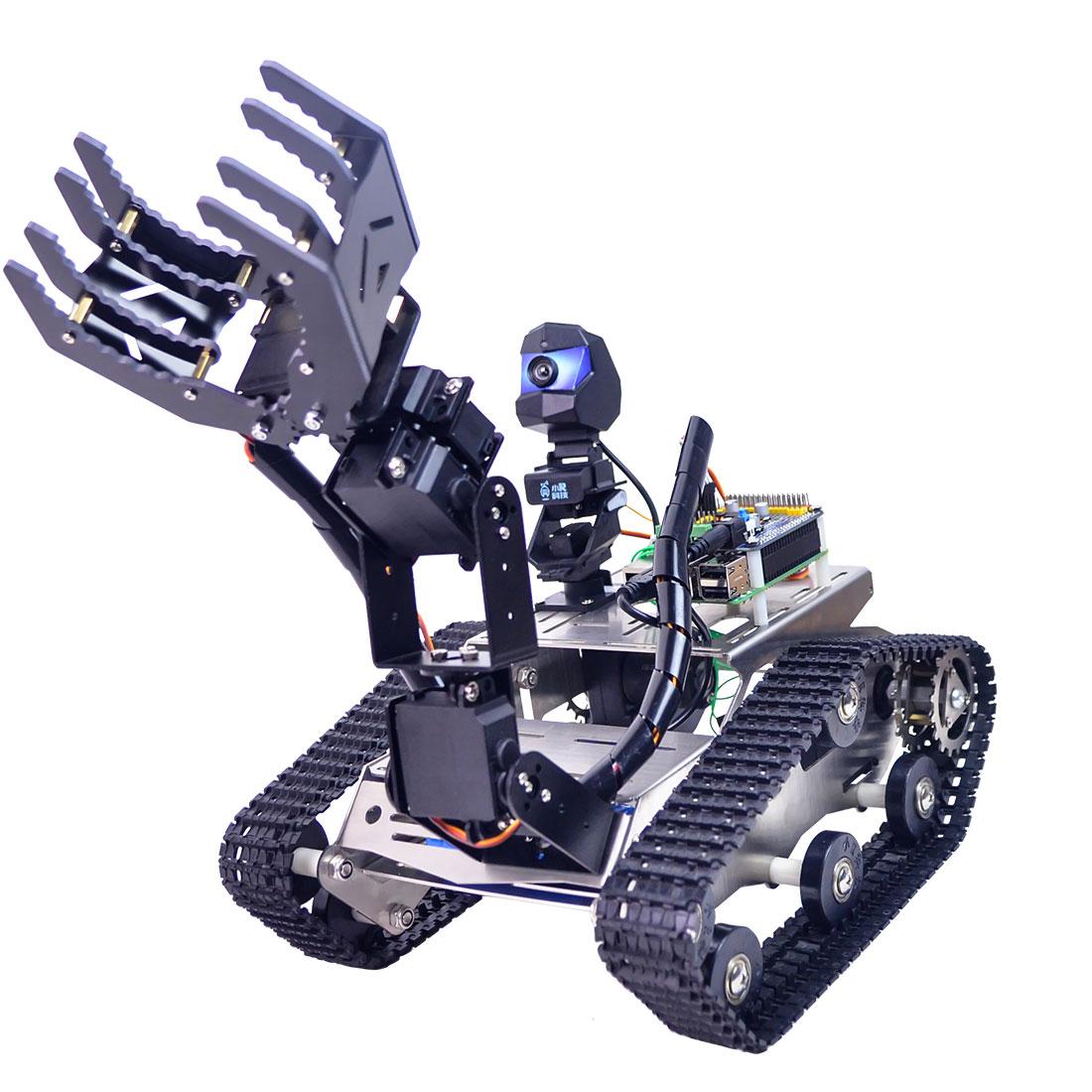 قابل للبرمجة TH WiFi دبابة سيارة روبوت عدة لعبة مع ذراع ل Raspberry Pi4 (2G) -خط دورية تجنب عقبة نسخة كبيرة مخلب