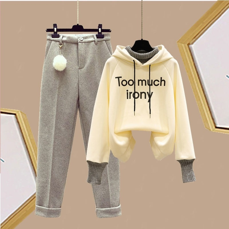 Women's Two-piece Suit Autumn and Winter Plus Velvet Sweater Fake Two-piece Loose-fitting Blouse Design Is Thin Casual Pants