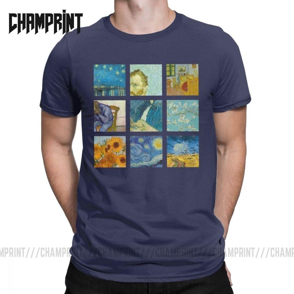 Camiseta con girasoles pintados Van Gogh para hombre, camisetas 100% de algodón, retrato de Vincent Pop Culture, camiseta de arte, camiseta de manga corta, Idea de regalo