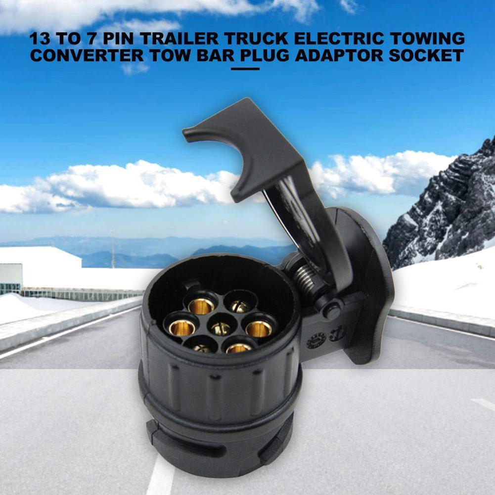 13 To 7 Pin Plug Adapter Trailer 12V Towbar Towing Converter Connector Truck Color Plastic Electrical Cable Caravan Black W V7U6