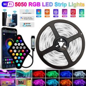 5V USB WIFI Phone APP 1M-40M 5050 USB Led Strips Light Waterproof RGB Led Diode Ribbon Lamp For Decoration Bedroom TV BackLight