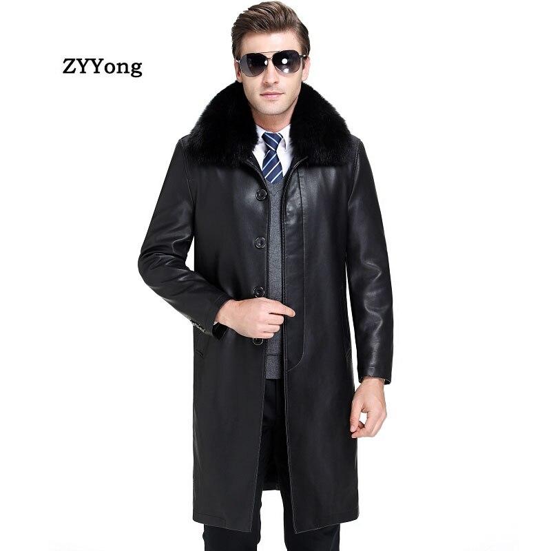 2020 Winter Fleece Men PU Leather Jacket Plus Velvet Warm Male Faux Leather Jackets Fashion Fur Collar