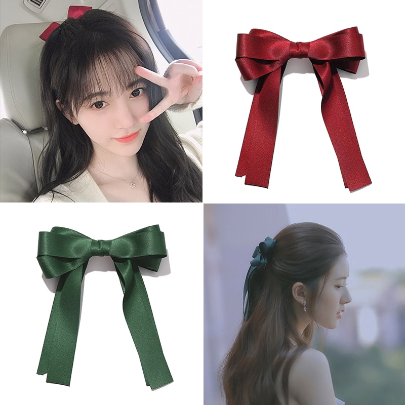 Red Big Bow Hairpin Female Back Hairpin Mori Style Fairy Lady Super Fairy Hair Accessory Clips Hair