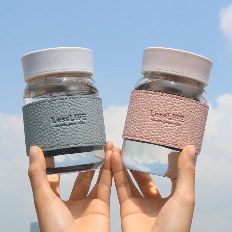 Botellas de agua de cristal de 360ml, con Filtro Infusor de té de acero inoxidable, para exteriores, portátil, vaso de cristal para beber para café