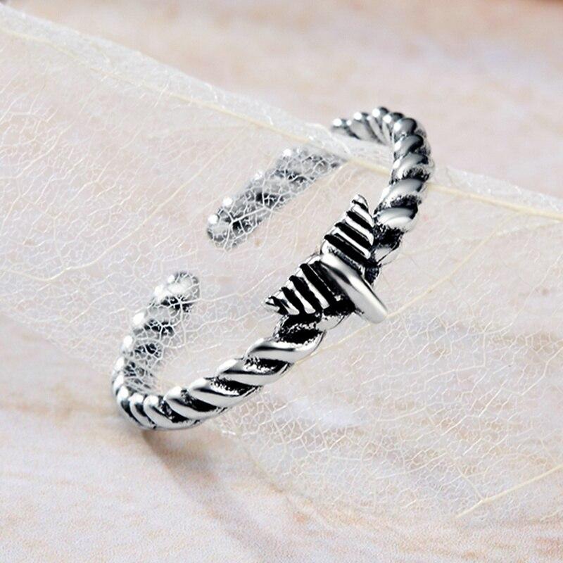 Vintage 925 Sterling Silver Rings for Women Hemp Rope Mermaid Tail Cuff Adjustable Rings Women Tibetan Silver 925 Finger Rings
