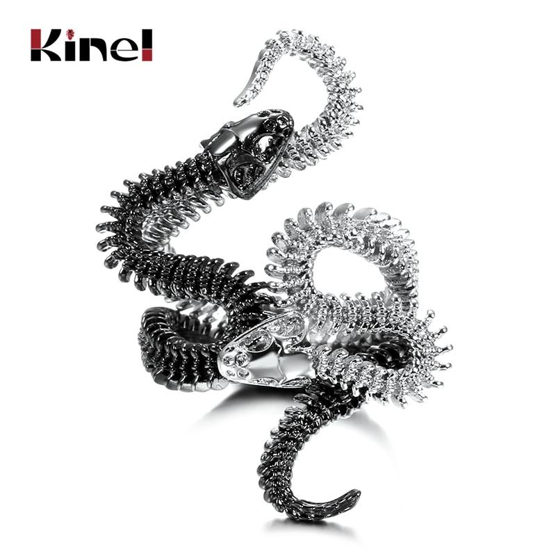 Kinel Fashion Snake Rings For Women Black Heavy Metals Punk Rock Zircon Ring Vintage Animal Jewelry Drop Shipping