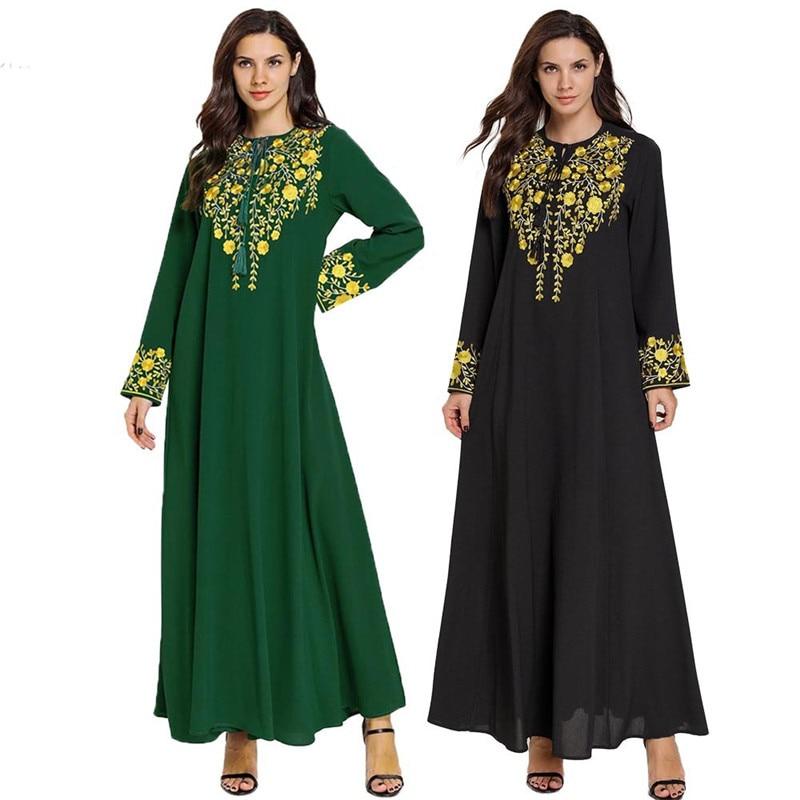 Vestido Abaya Dubai de manga larga negro islámico elegante 2020 con bordado Floral dorado ropa ramam de alta calidad Maxi M-4XL
