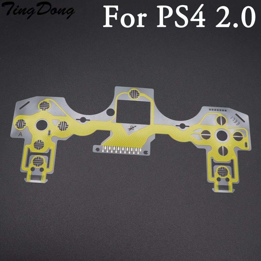 TingDong 2 шт./лот, оригинальный золотистый контроллер для ps4 020, кнопки клавиатуры, проводящая пленка, гибкий кабель
