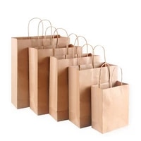 10pcs kraft paper bag with handles wood color packing gift bags for store clothes wedding christmas party supplies handbags