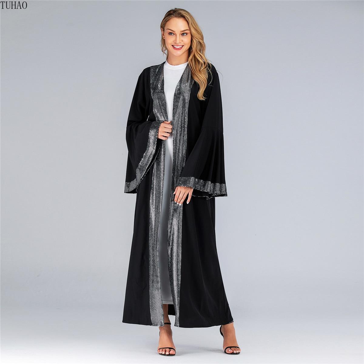 Otoño Invierno musulmana de lujo abrigos largos mujer brillante mangas mariposa Dubai túnicas árabes Femme con lentejuelas gabardina T1715