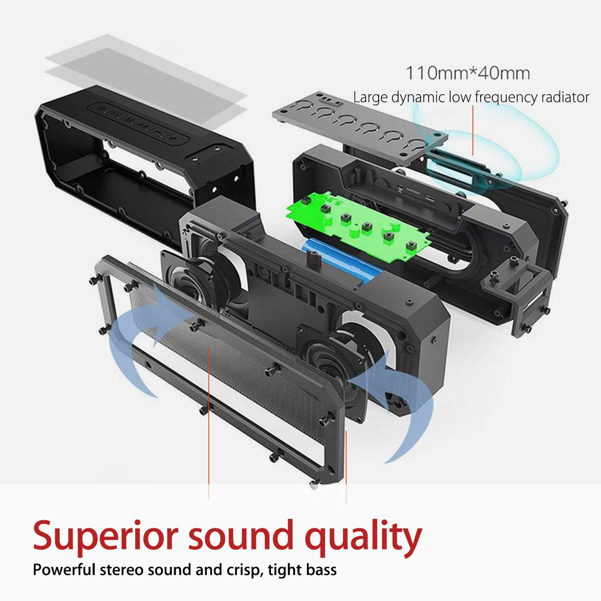 bluetooth Speaker 40W Column Portable Speaker IPX7 Waterproof Subwoofer with 360 Stereo Sound Outdoor Speakers Boombox enlarge