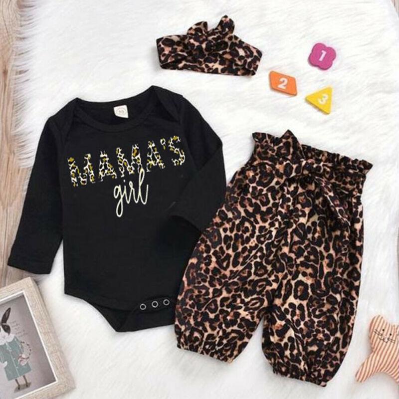 Conjunto de ropa de leopardo de 0-18M para recién nacido, Chico, niña, conjunto de ropa de manga larga, mono, pantalón, traje elegante, bonito y dulce de algodón