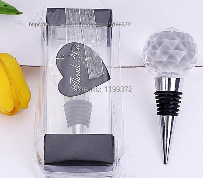 50 Uds. De diseño de bola redonda de cristal tapón de botella de vino Favor DE BODA Favor regalo