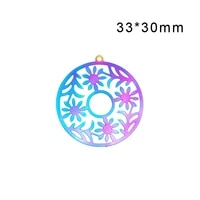 20pcslot flower circle shape hollow out pendants 3330mm double side rainbow color filigree stamping charms
