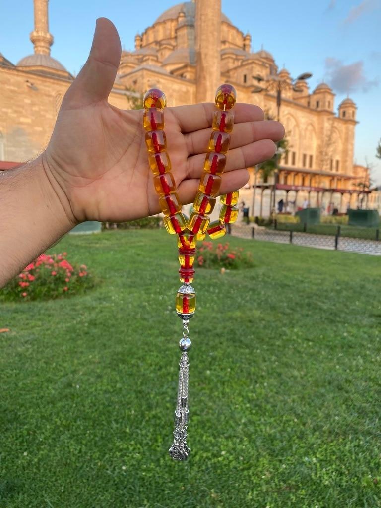 Ottoman Faturan German Amber Sandalous Misbaha Prayer Beads Islamic Gift Tasbih Tasbeeh Tasbeh Rosary Tasbih # 20E