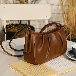 Pleated Ladies Baguette Bag Special Shoulder Strap Female Half Moon Bag Soft Woman Handbag Retro Shoulder Bag PU Leather Purses