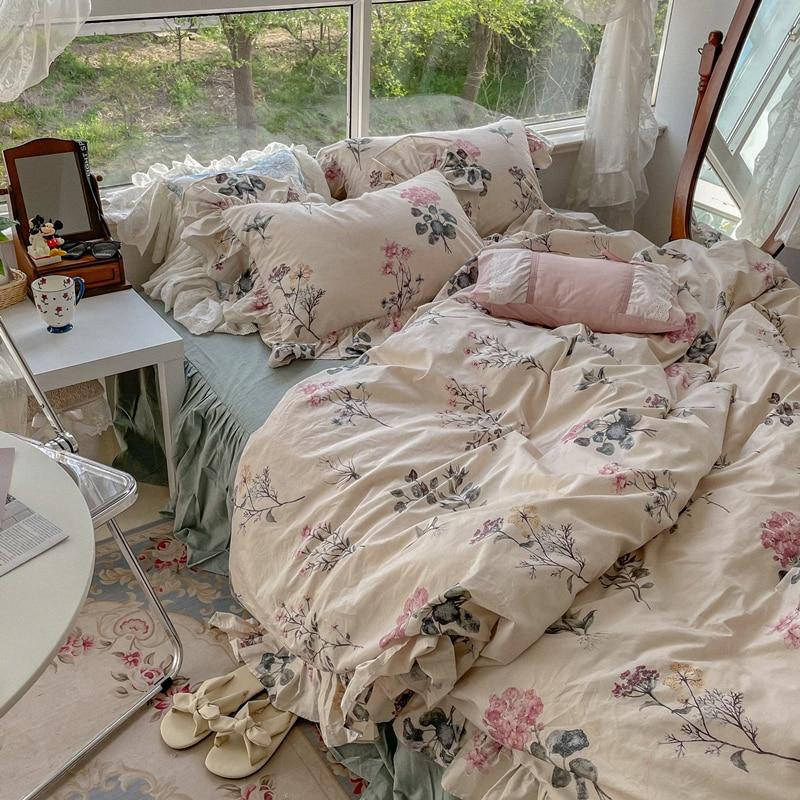 طلاء حبر الرجعية كل القطن غسلها القطن أربع قطع لحاف من القطن غطاء غطاء سرير تنورة نوم السرير 1.5/1.8 متر