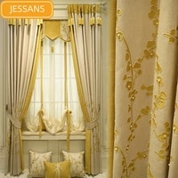 high end custom embroidered cotton and linen blackout curtains for bedroom living room curtains valance finished product