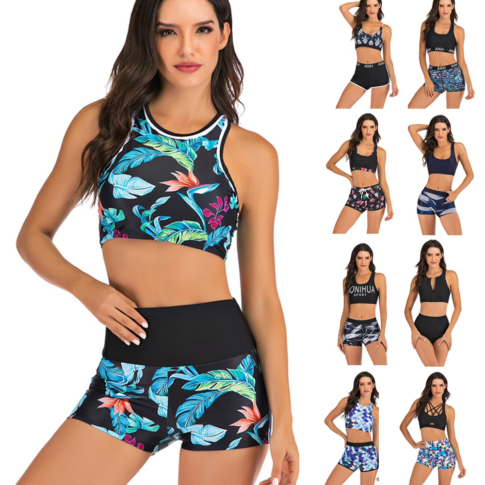 Plus Size Bikini Women Print Swimwear Sport Style Swimsuit Shorts Biquini High Waist Tankini Crop Top Bathing Suit Mujer Beach