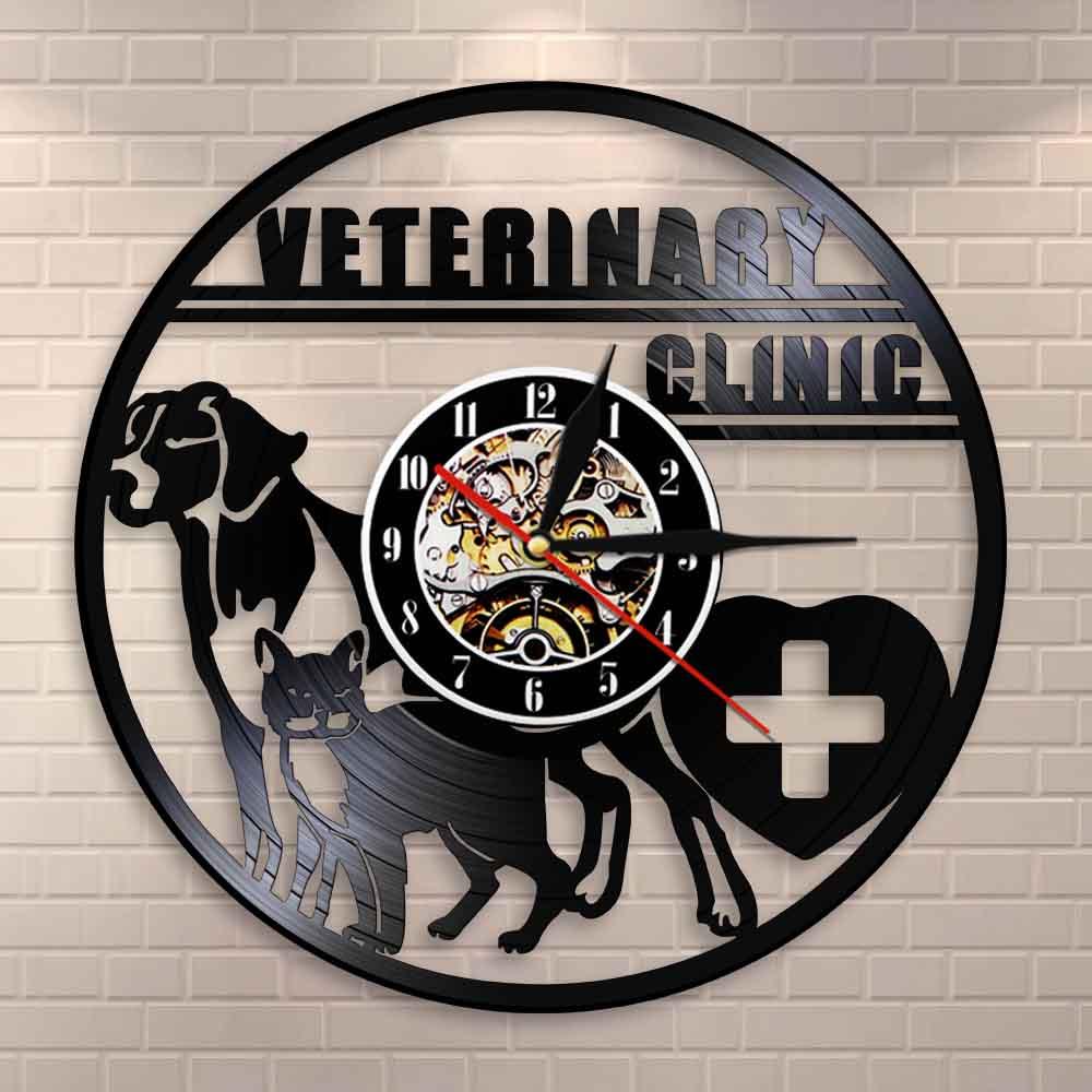 Clínica veterinária veterinário relógio de parede cão e gato cuidado veterinário hospital vinil registro relógio de parede amantes animais presentes vet