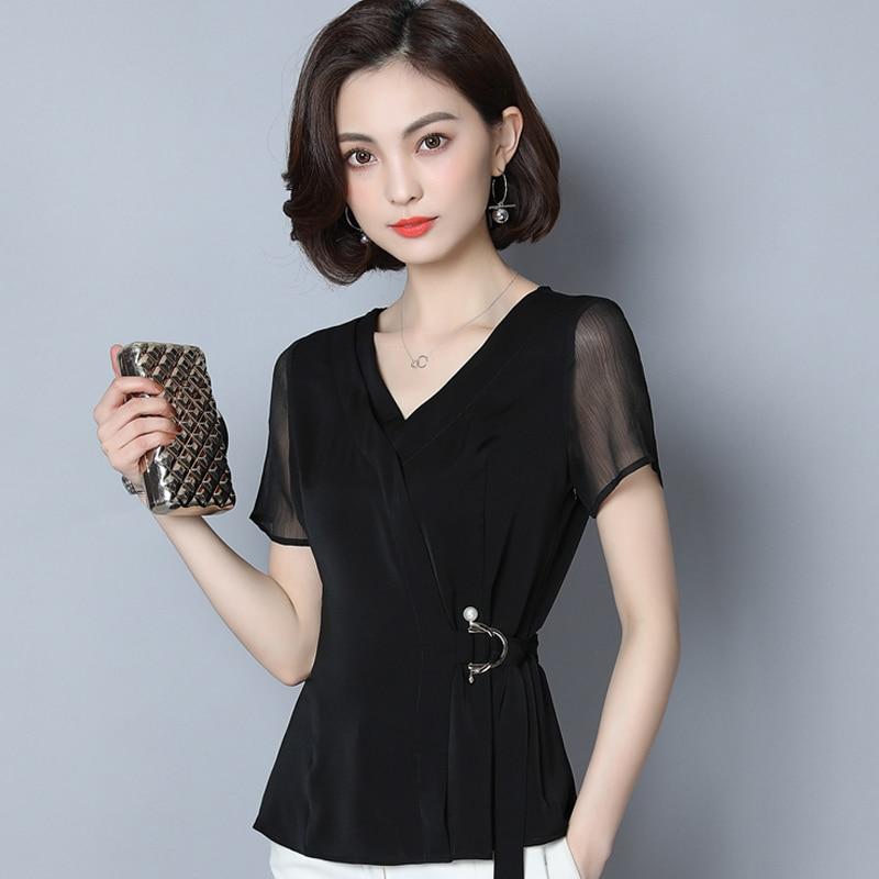 black chiffon women blouse 2020 summer new v-neck short-sleeved slim bandage office lady elegant pulls outwear tops