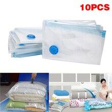 Organiseur pliable compressé Extra Large   Ensemble de 10 pièces/ensemble, sac de rangement sous vide, bordure transparente permettant de gagner de lespace pour vêtements HWC